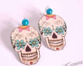 mexican skull earrings, dia de los muertos
