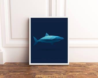 Shark Print Art Blue Ocean Sea Animal Printable Poster Boy Nursery Kids Room Children's Wall Decor Child Polygonal Geometric Modern Animal