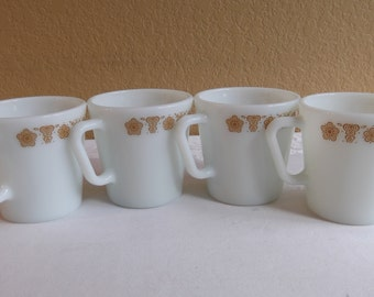 Pyrex Butterfly Gold Coffee Cups - 4 cups