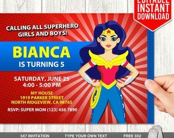Wonder Woman Invitations, Wonder Woman Instant Download, Wonder Woman Birthday Party, Wonder Woman Invites, Editable Thank You Tags, PDF
