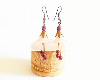 """""""Earrings"""" Pearl Pink and Burgundy flowers """""""