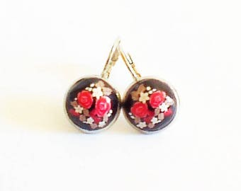 Earrings sleepers 'red rose on black background'