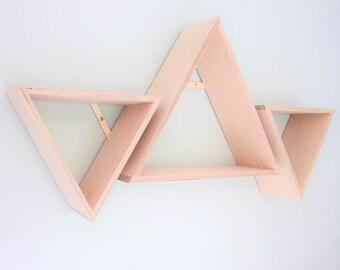 Children's Bedroom Nursery Floating Triangle Shelves / Handmade Ply