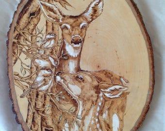 Deer wood burning