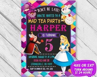Alice in Wonderland Invitation, Alice in Wonderland Birthday Invitation, Alice in Wonderland Tea Party, Alice in Onederland Invitation card