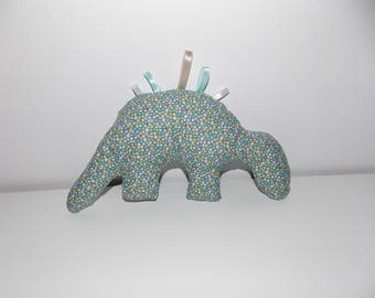 Doudou labels dinosaur green and blue pattern