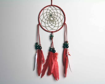 Red Dream Catcher - Boho Decor with Feathers and Bead Accents