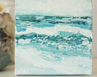 "Acrylic Mini Seascape Original Painting // ""Delicate"" // on 4"" by 4"" canvas"