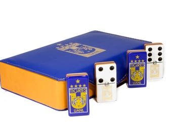 Tigres UANL Jumbo Domino Double Six, 5 Coats 100% Acrylic. Faux Leather Case