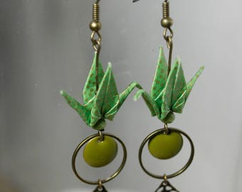Cranes earrings origami green - Golden dots pattern