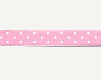 Fancy Satin Pink Ribbon with white polka dots by the yard