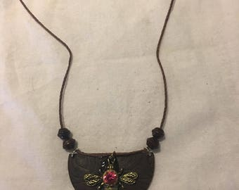 Vintage Leather Honey Bee Pendant Necklace