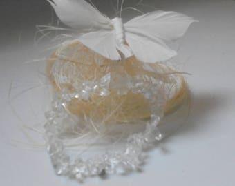 Magnetised gemstone rock crystal bracelet
