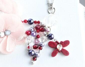 handbag jewelry, key ring, pompom jewelry, bohemian jewelry, bohemian style jewelry,