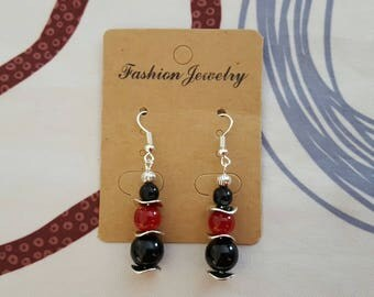 Earrings hook and Pearl silver, Burgundy and black glass bead