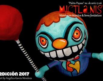 Creepy clown with Lolly pop, Little scary Clown, papier mache, art doll, art Toy. The. Scary clown, Art doll. Ooak