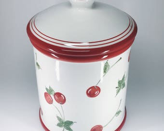 Cherry Ceramic Container w/ Lid