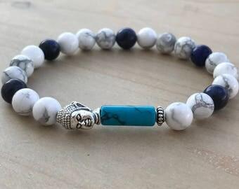 Turquoise Bracelet, Sodalite Bracelet, Howlite Bracelet, Buddha Bracelet, Men's Bracelet, Yoga Bracelet, Boho Bracelet, Spiritual Bracelet