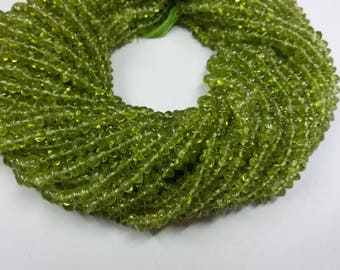 3-4 mm 14 Inch Long Strand Peridot Smooth Rondelle Beads