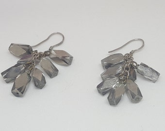Chunky Scatter Dangle Prism Beaded Earrings with 925 Silver Fishhooks