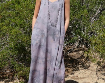 Bohemian maxi dress with pockets // hand-dyed watercolor // boho dress // long dress // gray with POCKETS