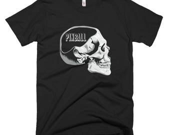 Mens' / Unisex Funny Pinball on the Mind Pinball Table-Lover Skull Short Sleeve T-Shirt