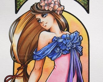 Elegance At Dusk manga original character Copic markers.  Elegance at dusk markers Copic anime manga style Art Nouveau Mucha