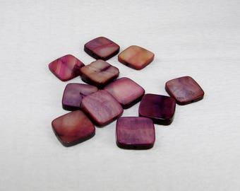 Square purple Pearl flat 15.00 in diameter. Semi precious stone.