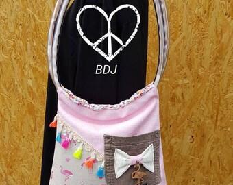 Bohemian pink Flamingo tote bag bowtie Mano