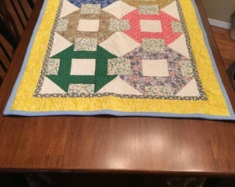 Bright, fun colored table runner or lap quilt