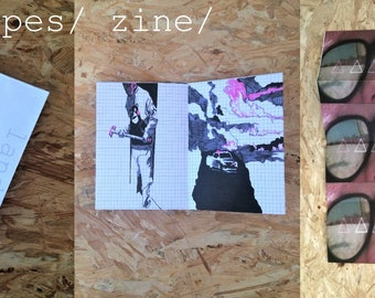 zine/ A3 folded/ 6 original illustrations/ title:  landscapes/ artist ADAM WARREN