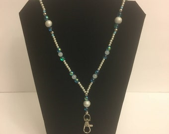 Teal and Silver Beaded Lanyard