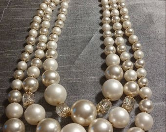 Stunning vintage Pearl and Aurora Borealis Crystal Triple Strand Necklace - Japan