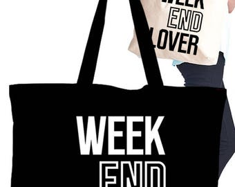 Eco Tote Bag with Screen Graphic Print/weekend lover