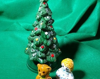 Avon Christmas Tree Vintage Retro Kitsch Hostess Snack Hors d oeuvres Set or Votive Light Salt Pepper Shakers