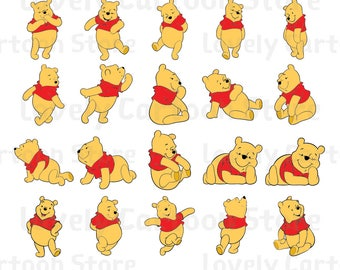 Winnie The Pooh Svg, Eps, Dxf and Png formats - 20 Postures Clipart - Digital Download