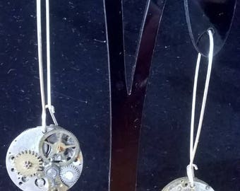 """Clockwork Vintage """"mini moons"""" watch parts elegant  steampunk earrings OOAK"""