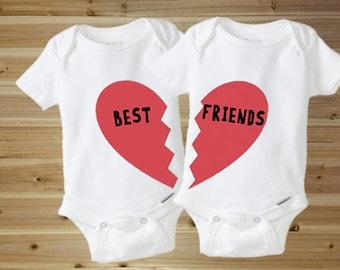 Twin Onesies, Cute Baby Onesies, Funny Baby Onesies, Best Friends, Baby Shower Gift, New Baby Gift, Twin Baby Gift, besties, baby onesies
