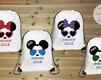 Disney Family Vacation Bags, Mickey Mouse Bag, Drawstring Bag, Minnie Mouse Backpack, Disney Bag, Family Vacation Bags, Drawstring Backpack