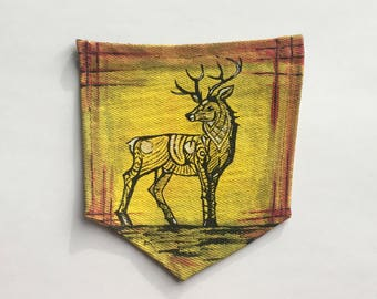 Stunning Stag Painted Pocket