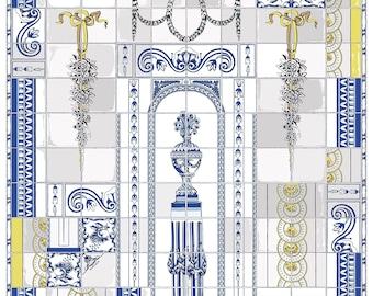 """Shawl """"Tiles on white"""" wool-silk 135х135"""
