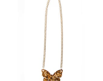 Glitter Gold Butterfly Necklace
