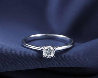 Round Diamond Engagement Ring 14k White Gold or Yellow Gold or Rose Gold Diamond Ring Modern Proposal Ring Anniversary Ring