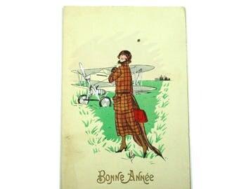 1926 Bonne Annee Greeting Card.  Ephemera Happy New Year.