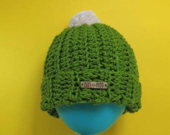 Adults | AVOCADO GREEN | Unisex Bobble Hat | With Cream Pom Pom