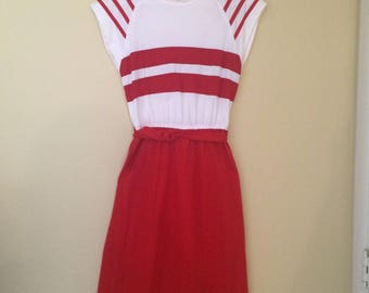 70's/80's Vintage Striped Red Dress