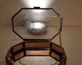 Glass Treasure / Jewelry Box with Etched Flower on Lid and Mirrored Bottom.