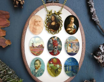 Famous Paintings Digital Collage Sheet, Monalisa Digital Collage Sheet, Leonardo da Vinci, Monet, Van Gogh Digital Collages, Cabochon Prints