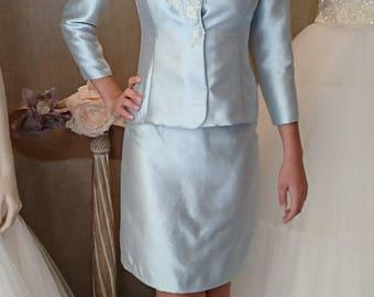 Sky blue silk skirt suit