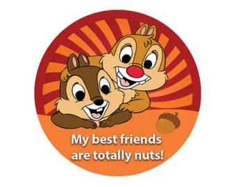 Chip and Dale Button - Best Friends Button - Friendship Badge - Disney Park Button - Theme Park Pin - Chip and Dale Badge - Lanyard Pin